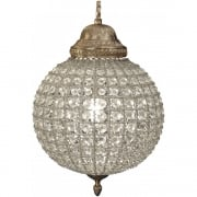 Round 36014 Crystal Effect Brass Chandelier Small