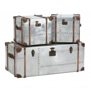 Bardem 233053 Set Of 3 Silver Trunks Homeware Table