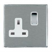 Linea-Duo CFX LDSS1BC-SSW Satin Steel 1 gang 13A Double Pole Switched Socket