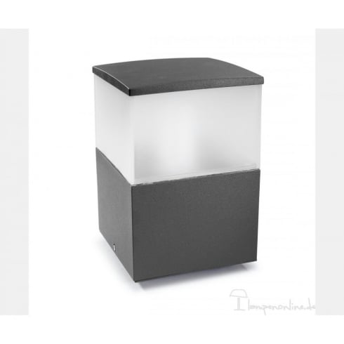 LedsC4 Lighting Cubik 10-9386-Z5-M3 Urban Grey Satin Polycarbonate Glass Pedestal Light