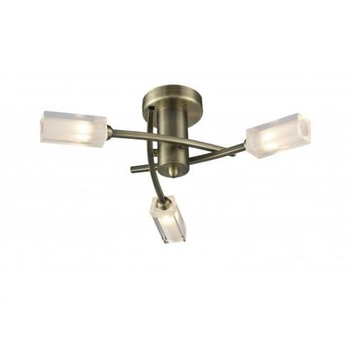 Dar Morgan 3 Light Semi Flush Ceiling Light Antique Brass