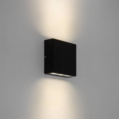 Astro Lighting Elis Twin 7202 Square Black Exterior LED Up and Down Surface Wall Light