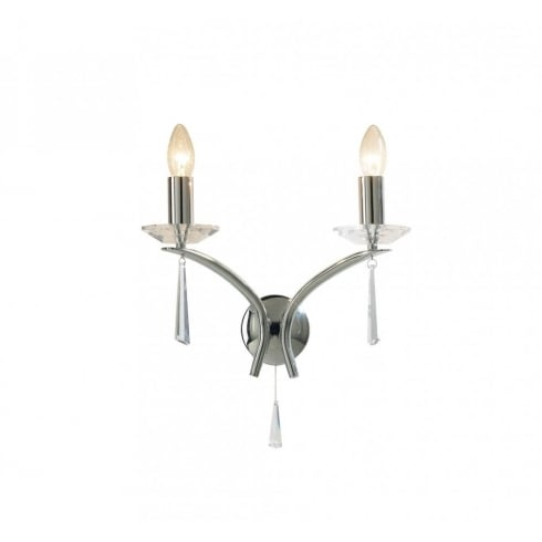 Dar Lighting Hyperion HY0950 Polished Chrome/Crystal Sconce 2 Light Wall Fitting