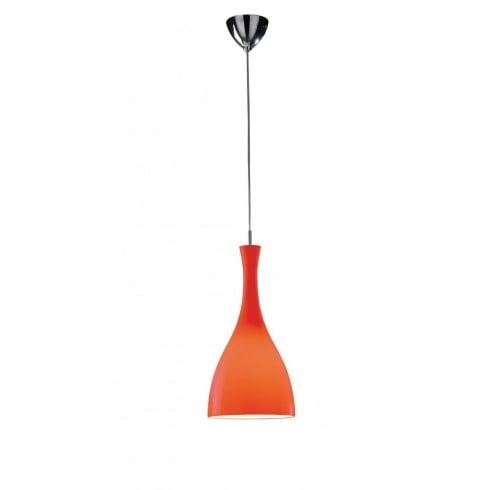 Dar Lighting Tone TON8625 Polished Chrome Pendant & Red Cup Glass Shade