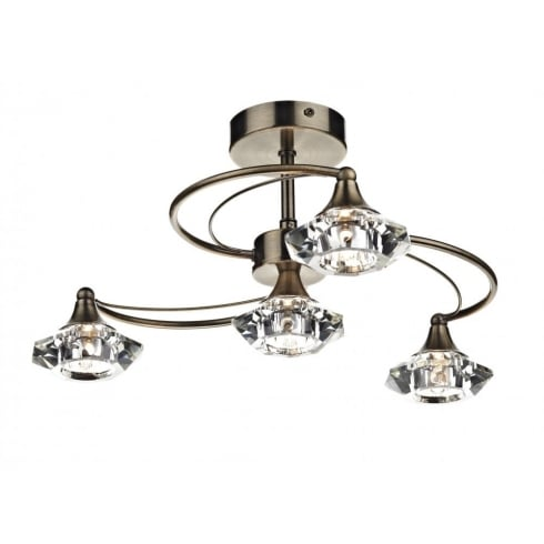 Dar Lighting Luther LUT0475 Antique Brass Semi Flush 4 Light Ceiling Fitting