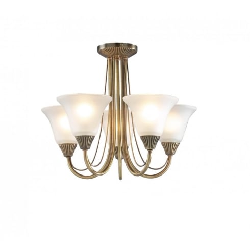 Dar Boston 5 Light Semi Flush Ceiling Light Antique Brass