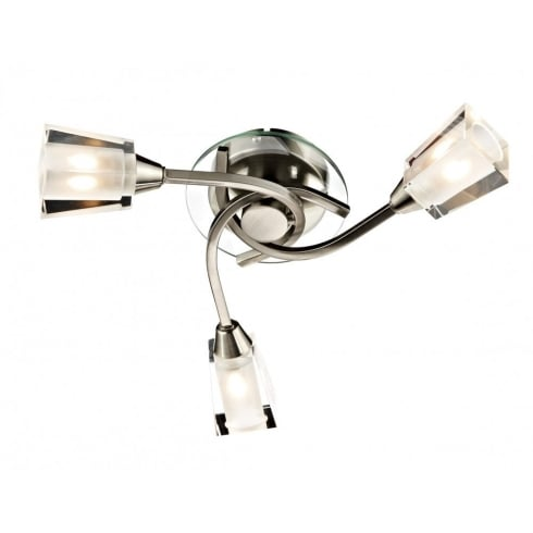 Dar Lighting Austin AUS0346 3 Light Satin Chrome Semi Flush Ceiling Light