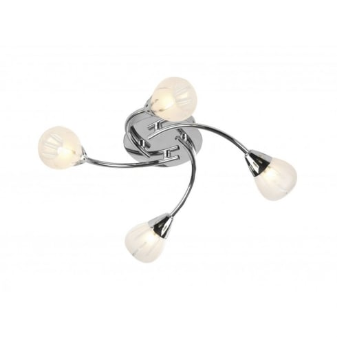 Dar Villa 4 Light Semi Flush Ceiling Light Polished Chrome