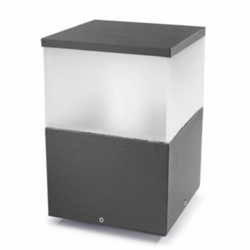LedsC4 Lighting Cubik 10-9387-Z5-M3 Urban Grey Satin Polycarbonate Glass Pedestal Light