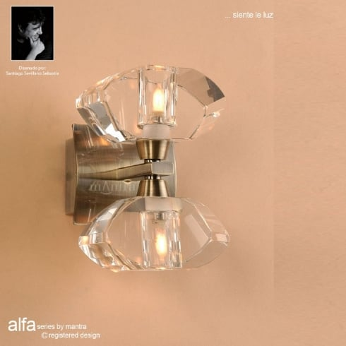Mantra Spain Alfa M0424AB Antique Brass Twin Light Wall Light