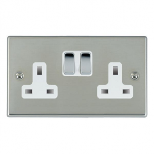 Hamilton Litestat Hartland 73SS2BC-W Bright Chrome 2 gang 13A Double Pole Switched Socket