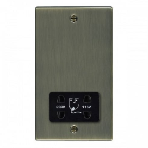 Hamilton Litestat Hartland 79SHSB Antique Brass Shaver Dual Voltage Unswitched Socket (Vertically Mounted)