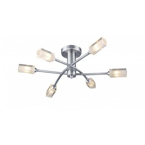 Dar Morgan 6 Light Semi Flush Ceiling Light Satin Chrome