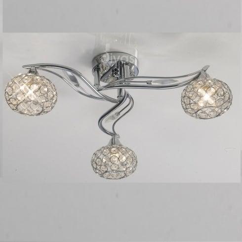 Diyas Leimo IL30953 Polished Chrome Crystal Three Lamp Ceiling Light