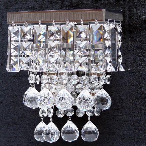 Fantastic Lighting Enigma 198/1 Crystal Square, Lozenge, Ball & Button Wall Bracket