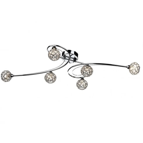 Dar Lighting Circa CIR6450 Polished Chrome 6 Light Flush Ceiling Fitting