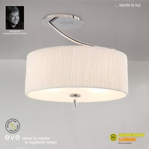 Mantra Eve Semi M1132 Polished Chrome Twin Ceiling Light with White Shade