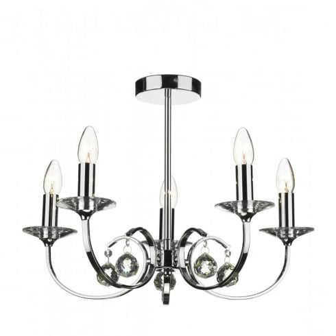 Dar Lighting Allegra ALL0550 Polished Chrome 5 Light Pendant
