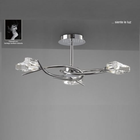 Mantra Spain Eclipse M1455 Polished Chrome Flush Three Lamp Ceiling Light