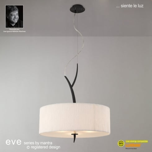 Mantra Spain Eve M1153 Antracite Three Light With White Shade Pendant