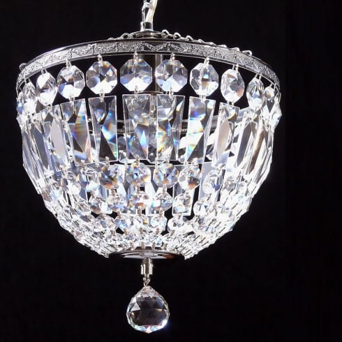 Fantastic Lighting Baguette 172/10/1 Chrome Crystal Trimmings Ceiling Light