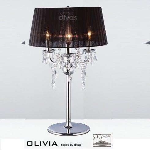 Diyas Olivia IL30062/BL Polished Chrome Crystal Three Light Table Lamp with Black Shade