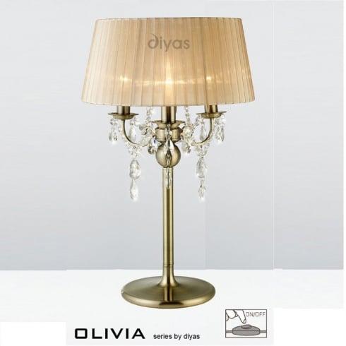 Diyas Olivia IL30065/SB Antique Brass Crystal Three Light Table Lamp with Bronze Shade