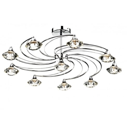Dar Lighting Luther LUT2350 Polished Chrome Semi Flush 10 Light Ceiling Fitting