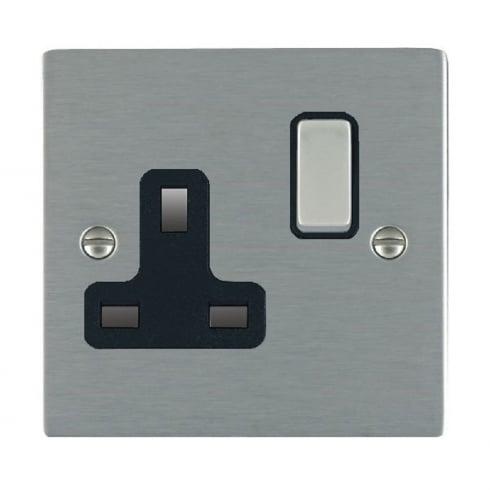 Hamilton Litestat Sheer 84SS1SS-B Satin Steel 1 gang 13A Double Pole Switched Socket