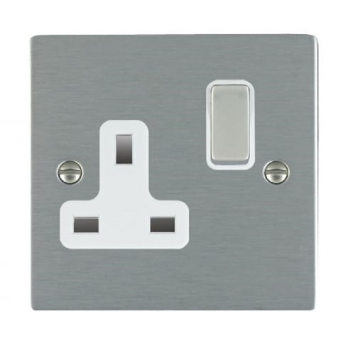 Hamilton Litestat Sheer 84SS1SS-W Satin Steel 1 gang 13A Double Pole Switched Socket