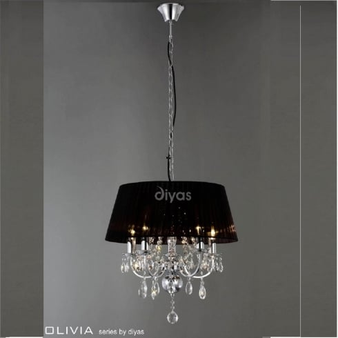Diyas UK Olivia IL-IL30045 Polished Chrome Crystal Five Light Pendant Ceiling Fitting with Black Shade