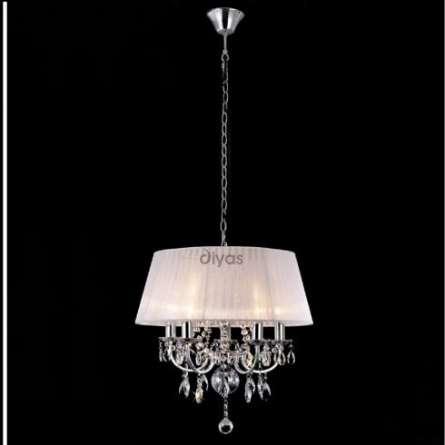 Diyas Olivia IL30046 Polished Chrome Crystal Five Light Pendant Ceiling Fitting with White Shade