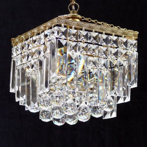 Fantastic Lighting Enigma 198/8/1 Crystal, Lozenge, Ball & Button Square Pendant