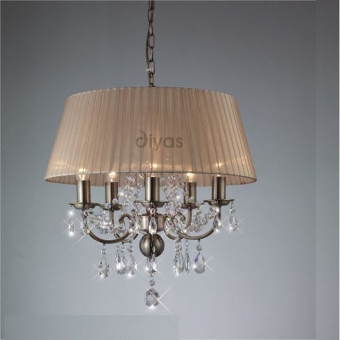 Diyas Olivia IL30047 Antique Brass Crystal Five Light Pendant Ceiling Fitting with Amber Cream Shade