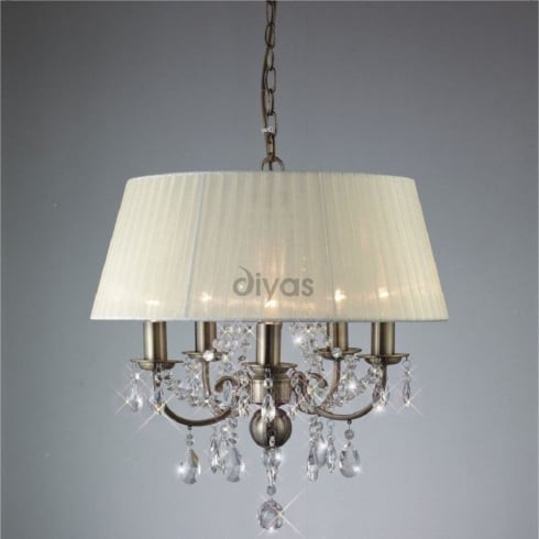 Diyas Olivia IL30048 Antique Brass Crystal Five Light Pendant Ceiling Fitting with Ivory Cream Shade