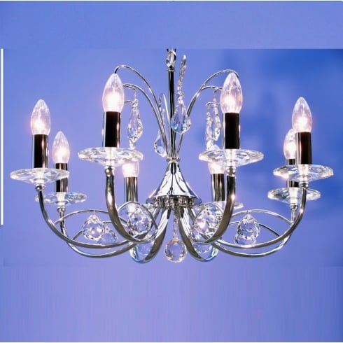 Fantastic Lighting Handel 1631/8 Chrome Armed with Crystal Ball Trimmings Pendant