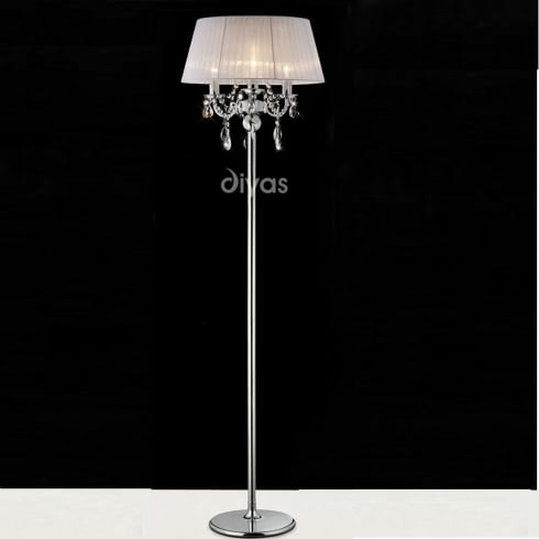 Diyas UK Olivia IL-IL30063/WH Polished Chrome Crystal Three Light Floor Lamp with White Shade