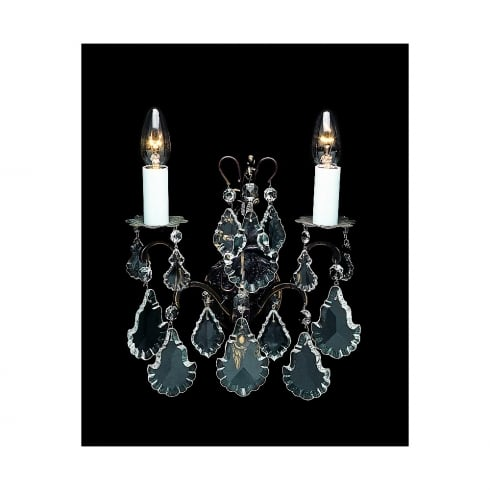 Impex Russell STRAZ CB00400/02/WB Antique Bronze With Crystal Detail Wall Light