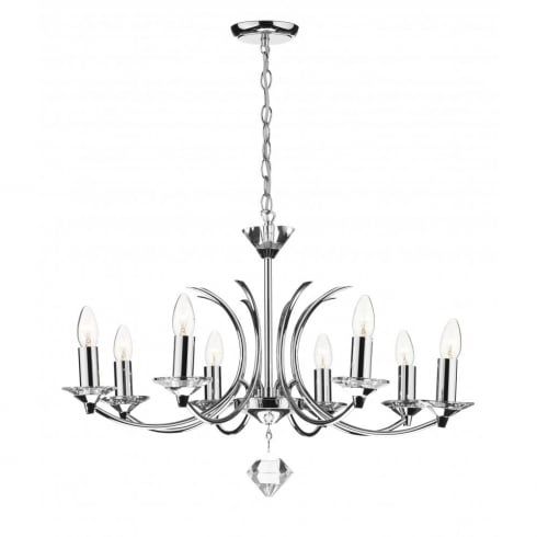 Dar Medusa MED0850 K9 Polished Chrome Crystal 8 Light Pendant