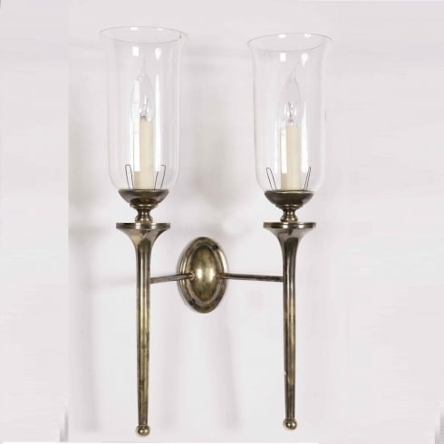 Limehouse Period and Replica Antique Lighting Grosvenor 721TG Light Antique With Glass Shade G027 Wall Light Double