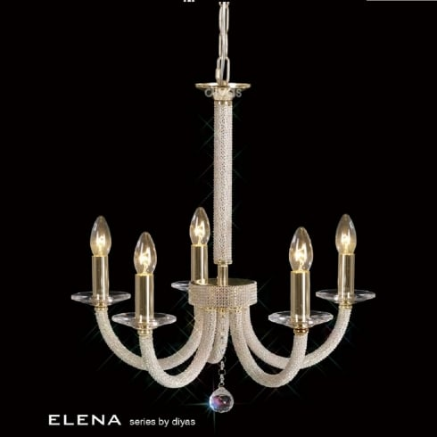 Diyas UK Elena IL-IL30375 Gold Crystal Five Light Pendant Ceiling Fitting