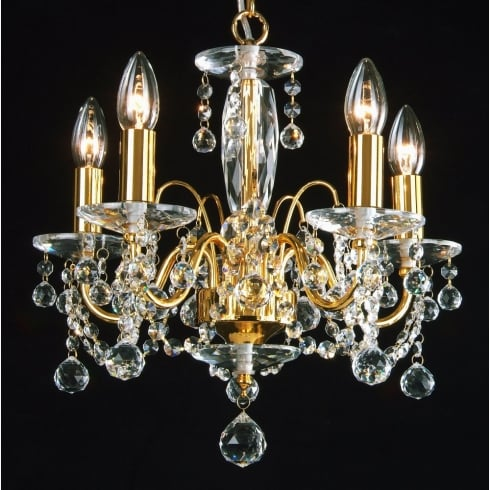 Fantastic Figaro 400/5 Gold Plated With Crystal Ball Trimmings Chandelier
