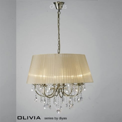 Diyas Olivia IL30057/SB Antique Brass Crystal Eight Light Pendant Ceiling Fitting with Bronze Shade
