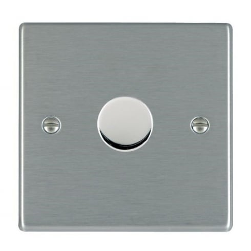 Hartland 741X40 Satin Steel 1 gang 400W 2 Way Leading Edge Push On/Off Resistive Dimmer