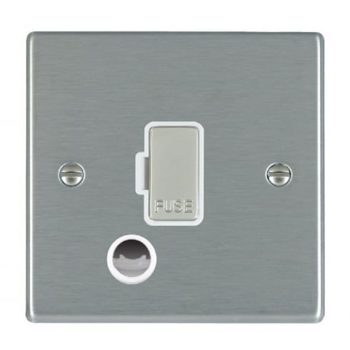 Hamilton Litestat Hartland 74FOCSS-W Satin Steel 1 gang 13A Fuse and Cable Outlet