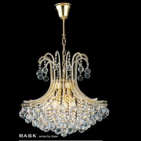 Diyas Bask IL30217 Gold Crystal Six Light Pendant Ceiling Fitting