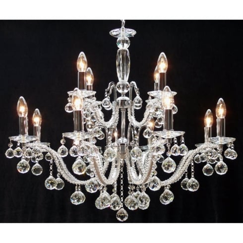 Fantastic Mozart 600/12+6 Chrome With Beaded Arm & Ball Trimmings Chandelier