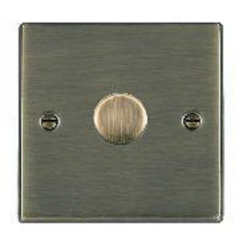 Hamilton Litestat Hartland 791X60 Antique Brass 1 gang 600W 2 Way Leading Edge Push On/Off Resistive Dimmer