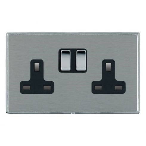 Hamilton Litestat Linea-Duo CFX LDSS2BC-SSB Satin Steel 2 gang 13A Double Pole Switched Socket