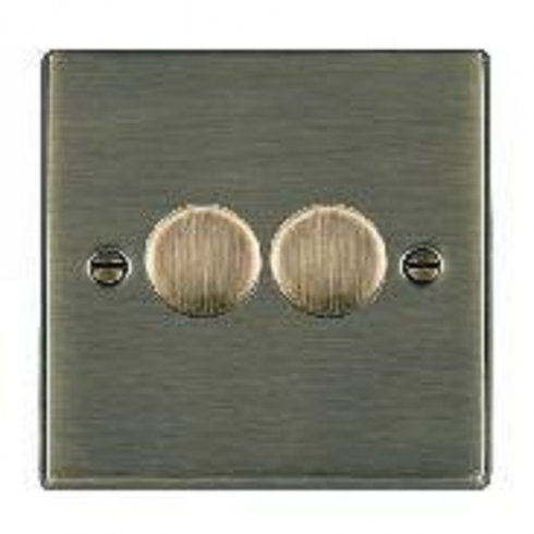 Hamilton Litestat Hartland 792X40 Antique Brass 2 gang 400W 2 Way Leading Edge Push On/Off Resistive Dimmer, max 300W per gang